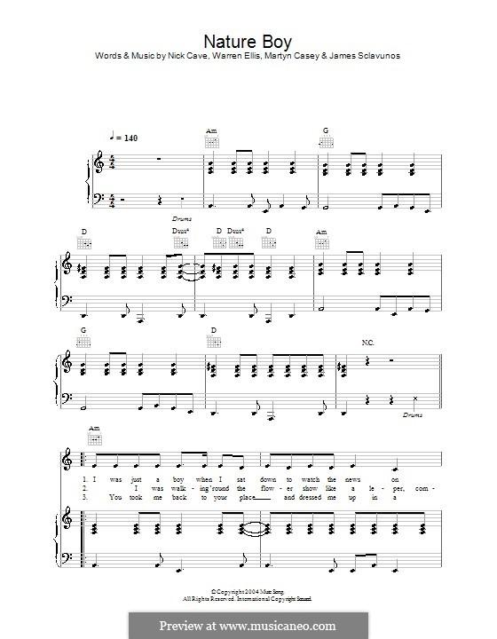 Nature Boy : Für Stimme und Klavier (oder Gitarre) by Jim Sclavunos, Martyn Casey, Nick Cave, Warren Ellis