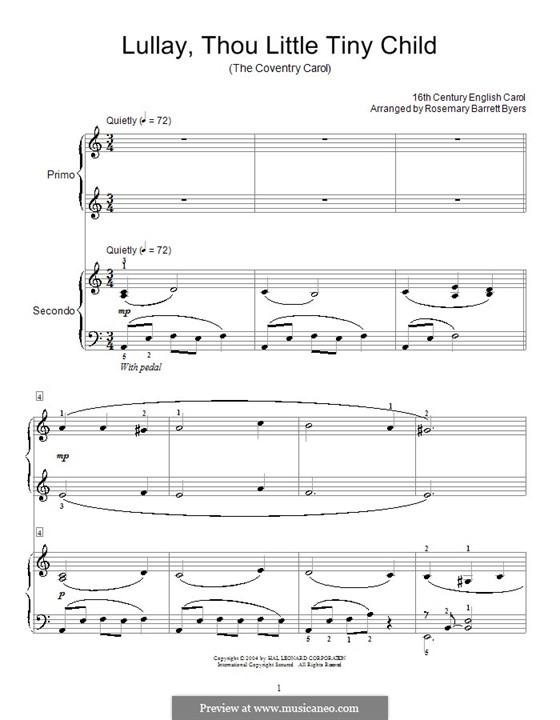 Lullay, Thou Little Tiny Child: Für Klavier, vierhändig by folklore