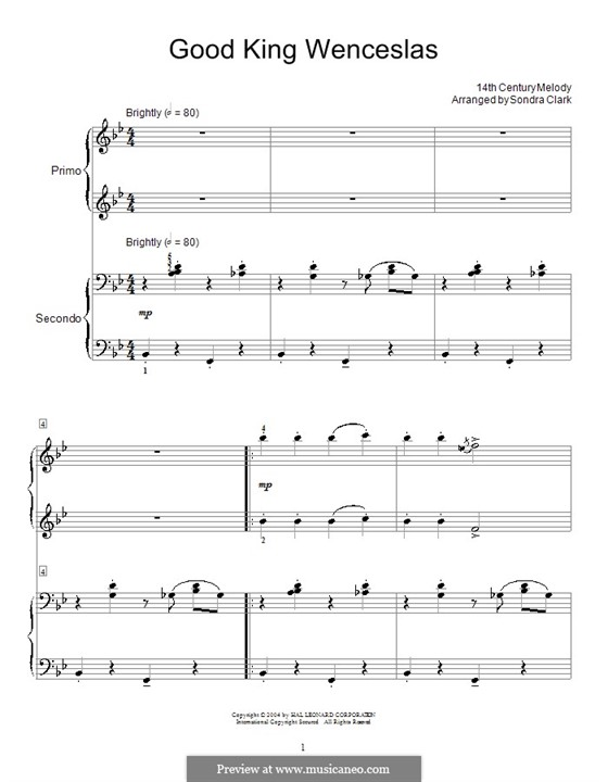 Good King Wenceslas: Für Klavier, vierhändig by folklore