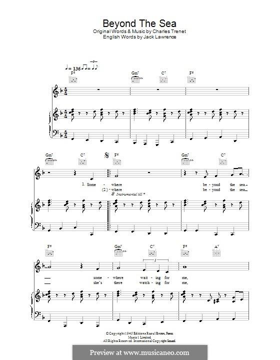 Beyond the Sea: Für Stimme mit Klavier oder Gitarre (Robbie Williams) by Albert Lasry, Charles Trenet