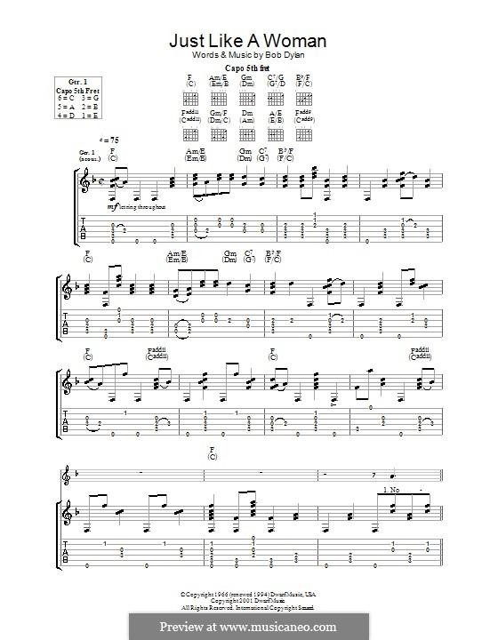 Just Like a Woman: Für Gitarre mit Tabulatur by Bob Dylan