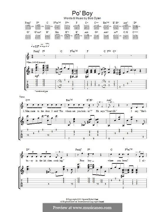 Po' Boy: Für Gitarre mit Tabulatur by Bob Dylan