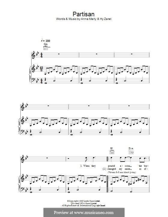 Partisan: Für Stimme und Klavier (oder Gitarre) by Anna Marly