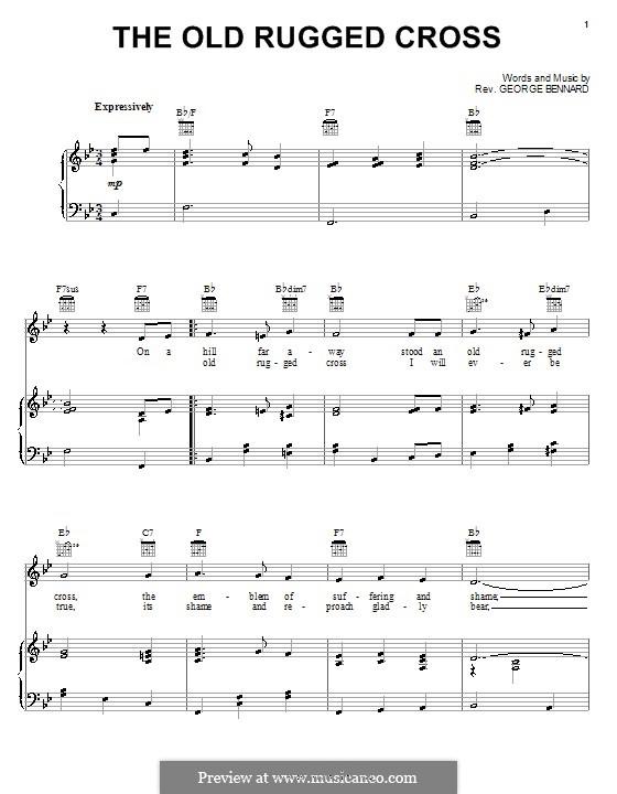 The Old Rugged Cross: Für Stimme und Klavier (oder Gitarre) by George Bennard