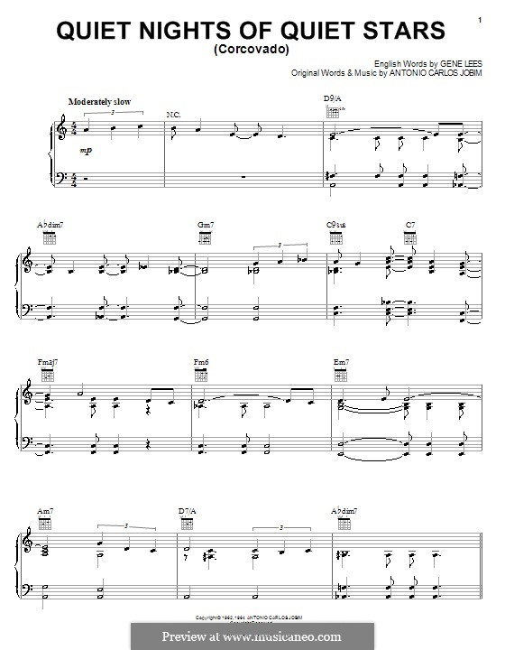 Quiet Nights of Quiet Stars (Corcovado): Für Stimme und Klavier (oder Gitarre) by Antonio Carlos Jobim
