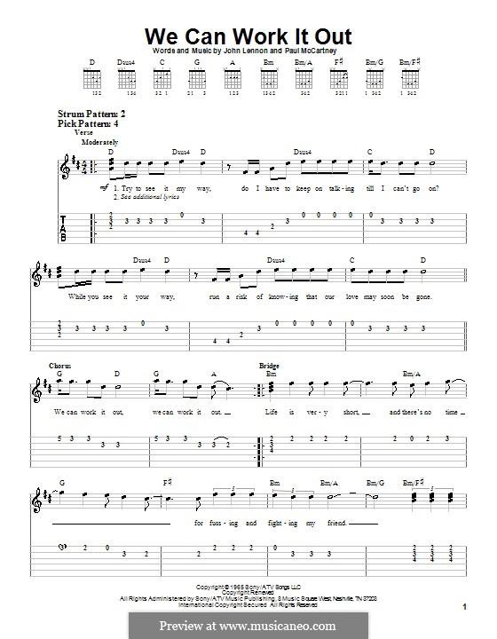 We Can Work it Out (The Beatles): Für Gitarre (leicht, mit Tabulatur) by John Lennon, Paul McCartney