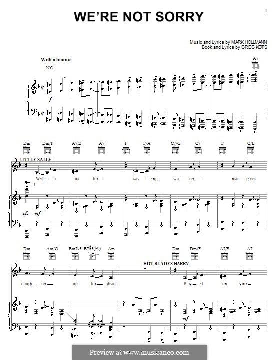 We're Not Sorry: Für Stimme und Klavier (oder Gitarre) by Greg Kotis, Mark Hollmann