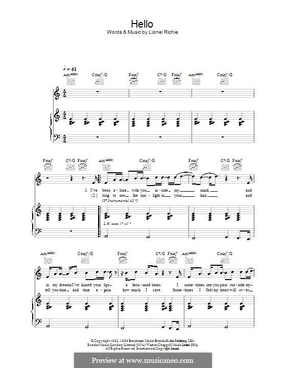 Hello: Für Stimme mit Klavier oder Gitarre (A Minor) by Lionel Richie