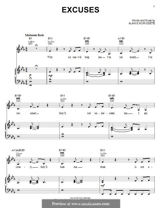 Excuses: Für Stimme und Klavier (oder Gitarre) by Alanis Morissette