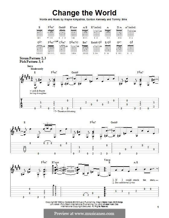 Change the World (Eric Clapton and Wynonna): Für Gitarre (Sehr leichte Fassung) by Gordon Kennedy, Tommy Sims, Wayne Kirkpatrick
