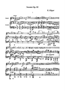 Sonate für Violine und Klavier, Op.82: Partitur, Solostimme by Edward Elgar
