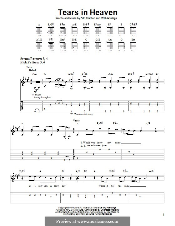 Tears in Heaven: Für Gitarre (leicht, mit Tabulatur) by Eric Clapton, Will Jennings