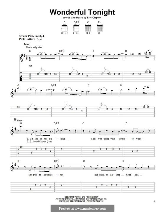 Wonderful Tonight: Für Gitarre (Sehr leichte Fassung) by Eric Clapton