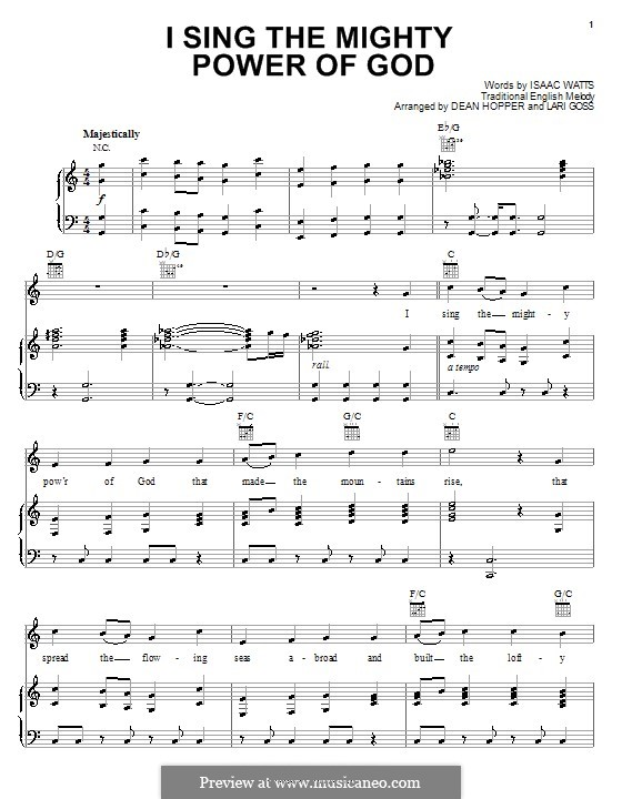 I Sing the Mighty Power of God: Für Stimme und Klavier (oder Gitarre) by folklore