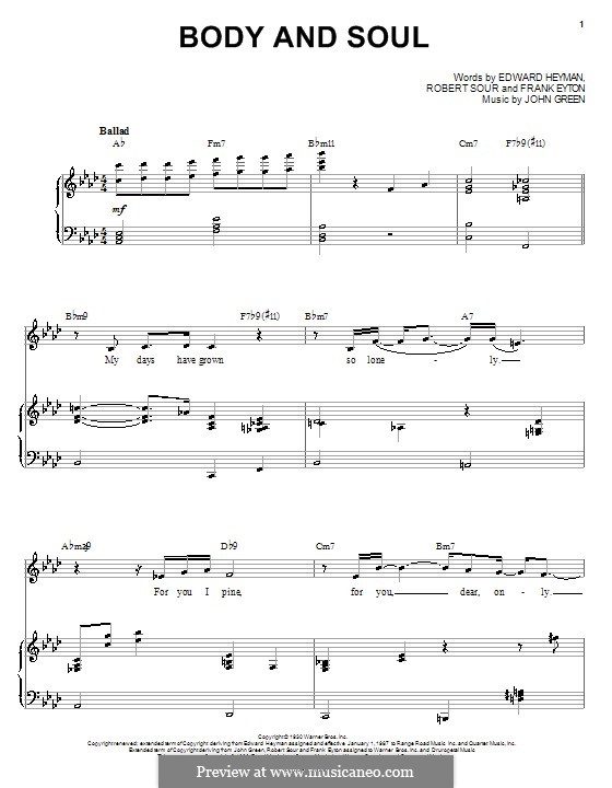 Body and Soul: Für Stimme mit Klavier oder Gitarre by John W. Green