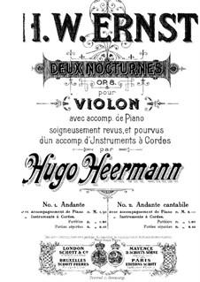 Zwei Nocturnes für Violine und Klavier, Op.8: Nocturne Nr.2 für Violine und Streicher by Heinrich Wilhelm Ernst