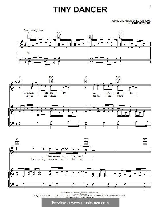 Tiny Dancer: Für Stimme und Klavier (oder Gitarre) by Elton John