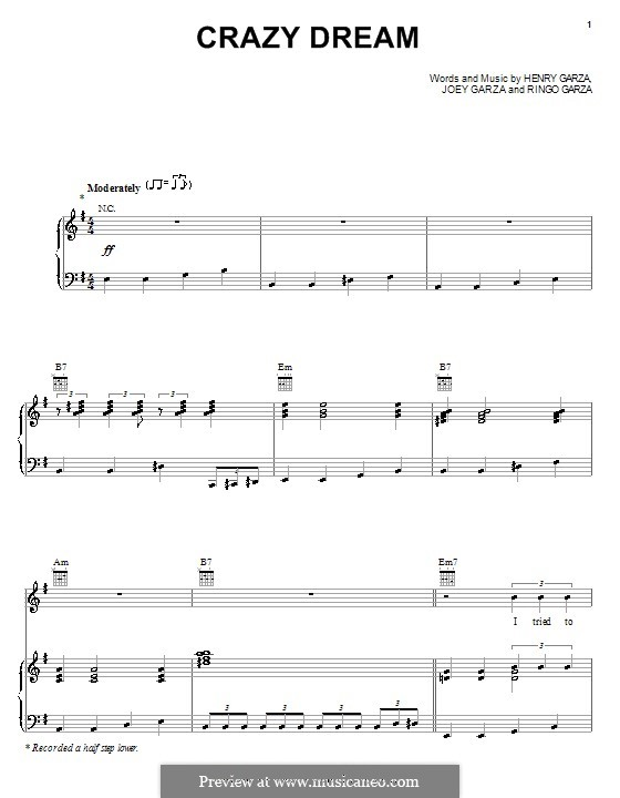 Crazy Dream (Los Lonely Boys): Für Stimme und Klavier (oder Gitarre) by Henry Garza, Joey Garza, Ringo Garza