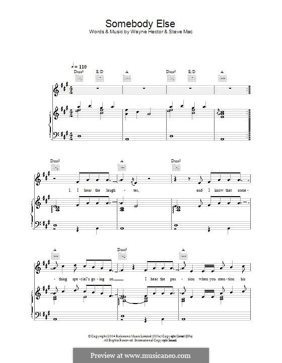 Somebody Else (Ronan Keating): Für Stimme und Klavier (oder Gitarre) by Steve Mac, Wayne Anthony Hector
