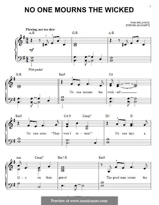 No One Mourns the Wicked: Für Klavier, leicht by Stephen Schwartz