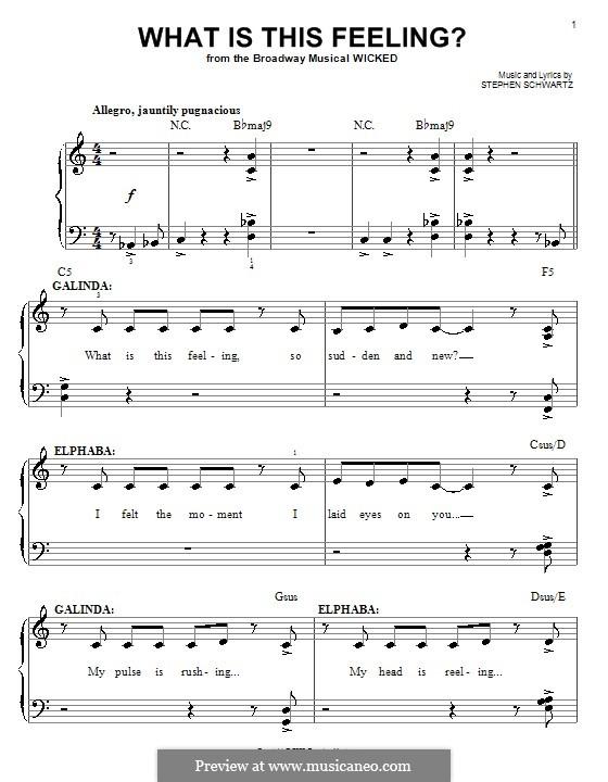 What Is This Feeling?: Für Klavier, leicht by Stephen Schwartz