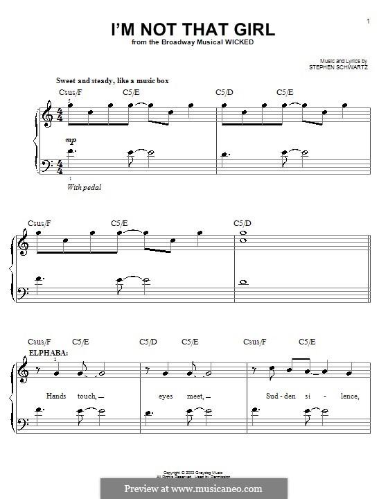 I'm Not That Girl (from Wicked): Für Klavier, leicht by Stephen Schwartz