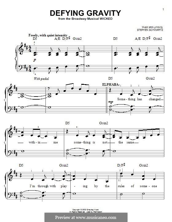 Defying Gravity (from the Broadway Musical Wicked): Für Klavier (leicht, mit Akkordenbezeichnung) by Stephen Schwartz