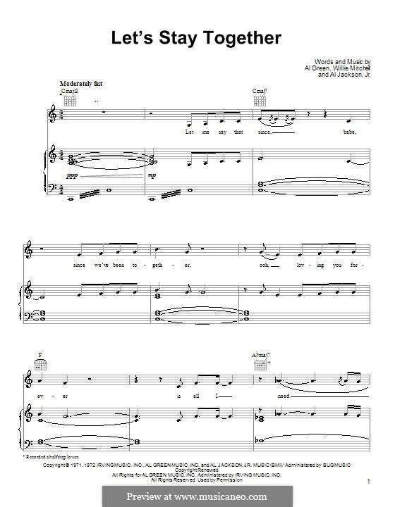 Let's Stay Together: Für Stimme und Klavier oder Gitarre (C-Dur) by Willie Mitchell, Al Jackson Jr.