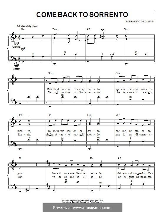 Torna a Surriento: Für Akkordeon by Ernesto de Curtis