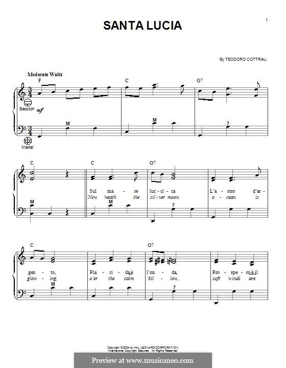 Santa Lucia: Für Akkordeon by Teodoro Cottrau