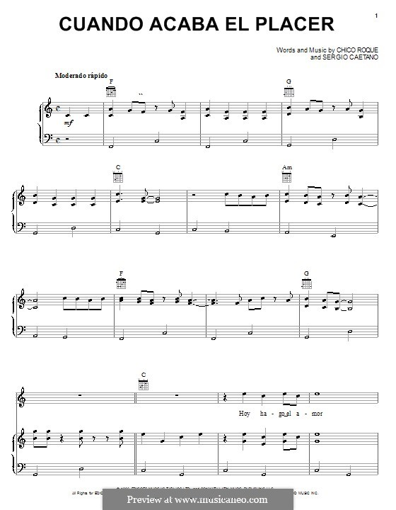 Cuando Acaba el Placer: Für Stimme und Klavier (oder Gitarre) by Chico Roque, Sergio Caetano