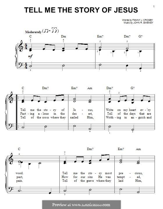 Tell Me the Story of Jesus: Einfache Noten für Klavier by John Robson Sweney