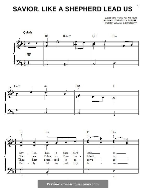 Savior, Like a Shepherd Lead Us: Für Klavier by William Batchelder Bradbury