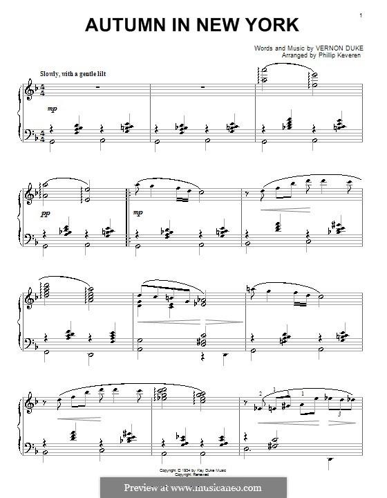 Autumn in New York: Für Klavier by Vernon Duke