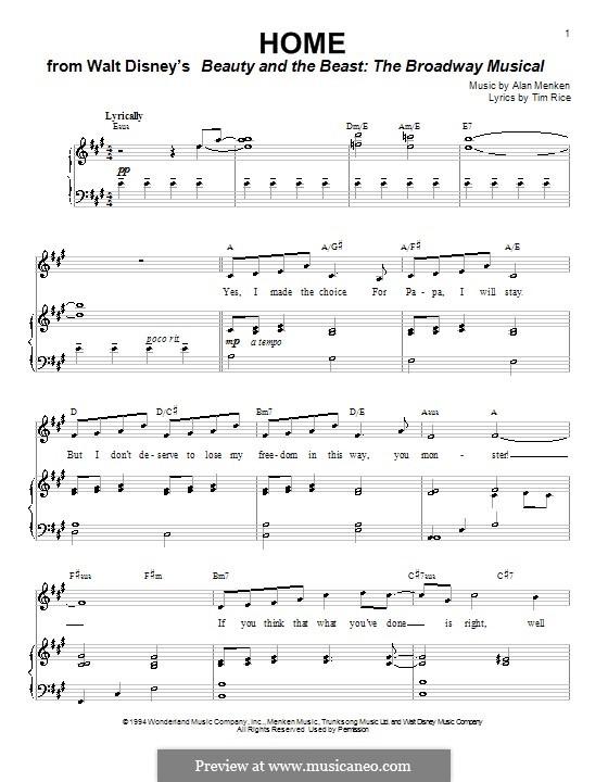 Home (from Beauty and the Beast: The Broadway Musical): Für Stimme und Klavier (oder Gitarre) by Alan Menken