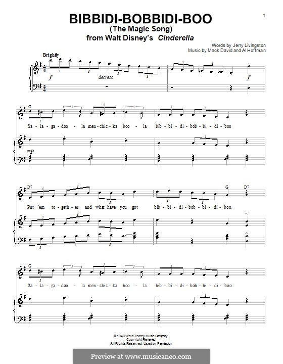 Bibbidi-Bobbidi-Boo (The Magic Song): Für Stimme mit Klavier oder Gitarre (Verna Felton) by Al Hoffman, Mack David