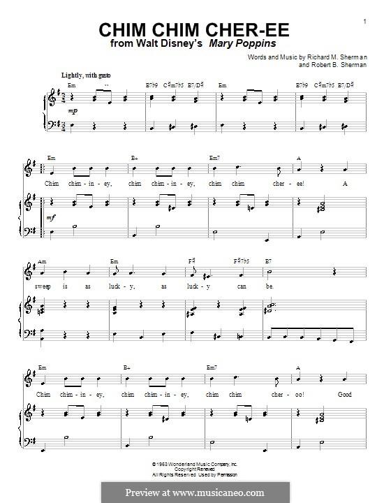 Chim Chim Cher-ee (from Mary Poppins): Für Stimme mit Klavier oder Gitarre (E Minor) by Richard M. Sherman, Robert B. Sherman