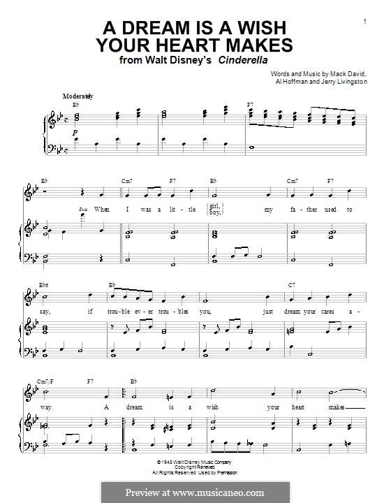 A Dream Is a Wish Your Heart Makes (from Disney's Cinderella): Für Stimme mit Klavier oder Gitarre (Linda Ronstadt) by Al Hoffman, Jerry Livingston, Mack David