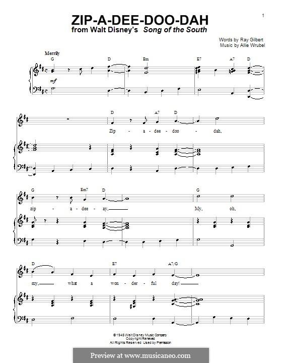 Zip-A-Dee-Doo-Dah: Für Stimme und Klavier oder Gitarre (D-Dur) by Allie Wrubel