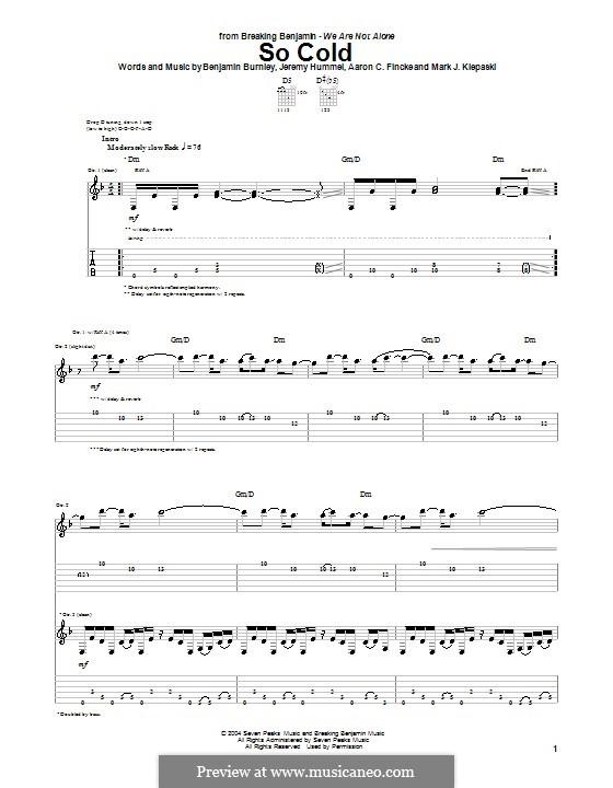 So Cold (Breaking Benjamin): Für Gitarre mit Tabulatur by Aaron C. Fincke, Benjamin Burnley, Jeremy Hummel, Mark J. Klepaski