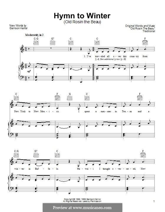 Hymn to Winter: Für Stimme und Klavier (oder Gitarre) by Garrison Keillor