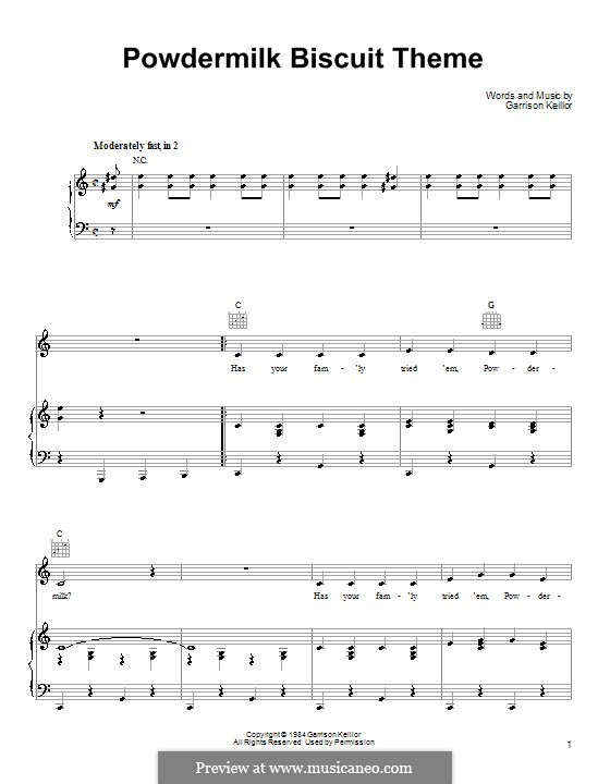 Powdermilk Biscuit Theme: Für Stimme und Klavier (oder Gitarre) by Garrison Keillor