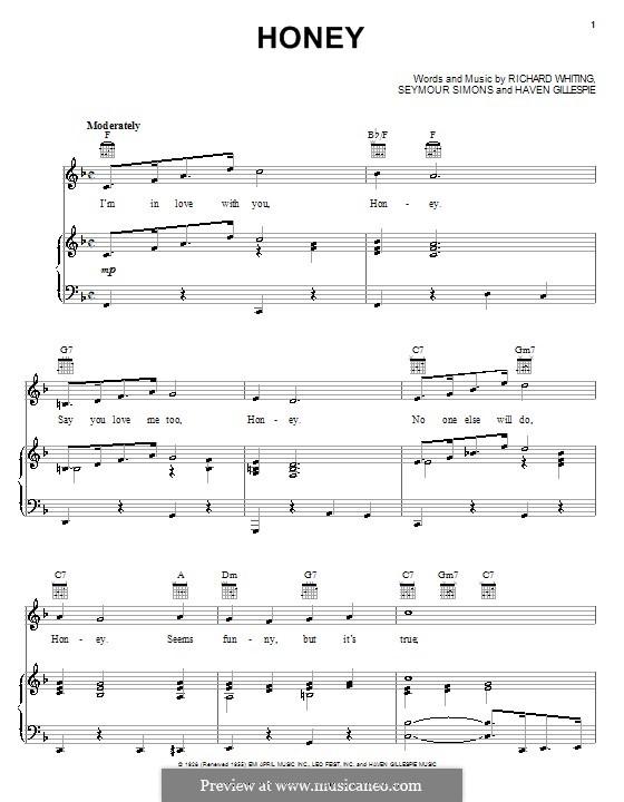 Honey: Für Stimme und Klavier (oder Gitarre) by Haven Gillespie, Richard A. Whiting, Seymour Simons