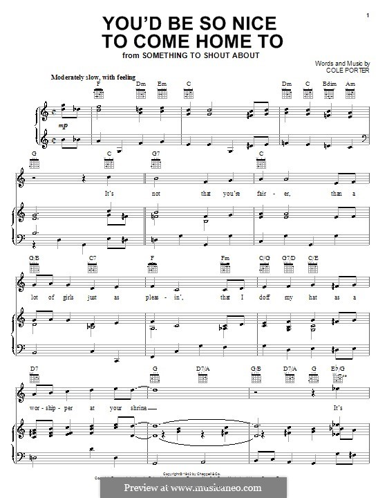 You'd Be So Nice to Come Home to: Für Stimme und Klavier (oder Gitarre) by Cole Porter