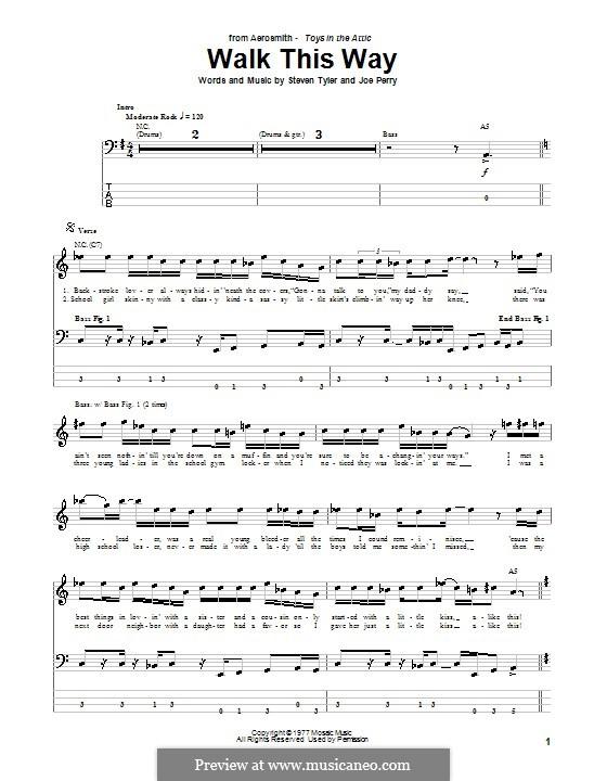 Walk This Way (Aerosmith and Run D.M.C.): Für Bassgitarre mit Tabulatur by Joe Perry, Steven Tyler