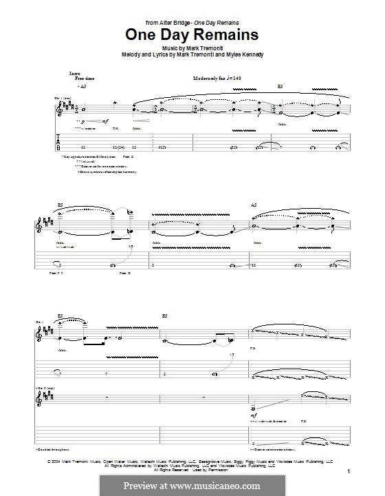 One Day Remains (Alter Bridge): Für Gitarre mit Tabulatur by Mark Tremonti, Myles Kennedy