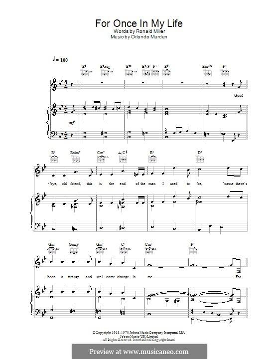 For Once in My Life: Für Stimme und Klavier (oder Gitarre) by Orlando Murden, Ronald Miller
