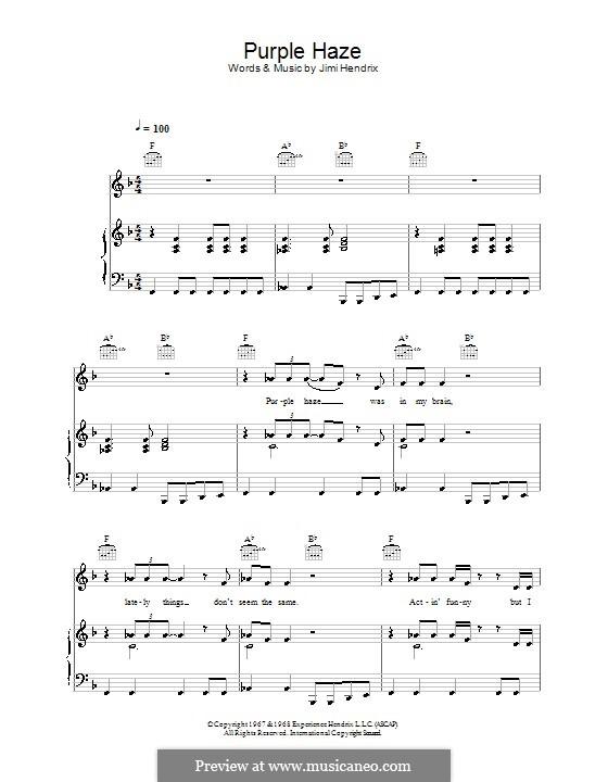 Purple Haze: Für Stimme und Klavier (oder Gitarre) by Jimi Hendrix