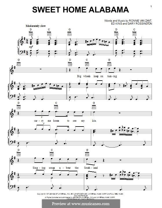 Sweet Home Alabama (Lynyrd Skynyrd): Für Stimme und Klavier (oder Gitarre) by Ed King, Gary Rossington, Ronnie Van Zant