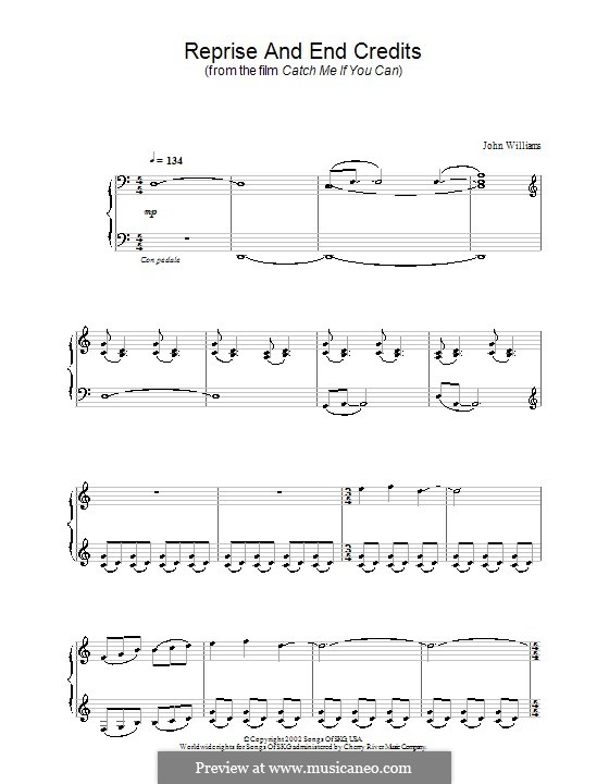 Reprise and End Credits (from Catch Me If You Can): Für Klavier by John Williams